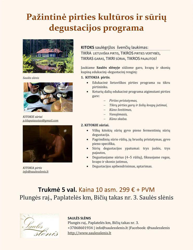 Pažintinė pirties kultūros ir sūrio degustacijos programa